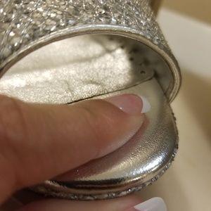 Lulu Townsend Shoes - BOGO Sexy Silver sequin glitter slingback heels